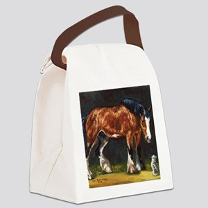 Clydesdale Horse and Cat Canvas Lunch Bag