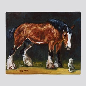 Clydesdale Horse and Cat Throw Blanket