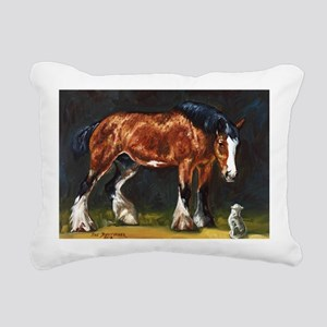 Clydesdale Horse and Cat Rectangular Canvas Pillow