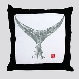 tuna tail on black Throw Pillow