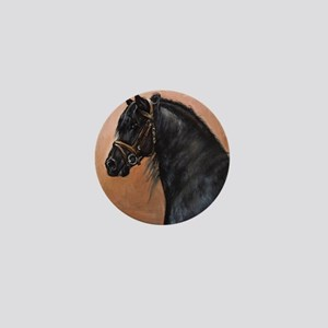 Friesian Horse Mini Button
