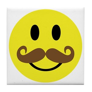smiley face mustache coasters cafepress