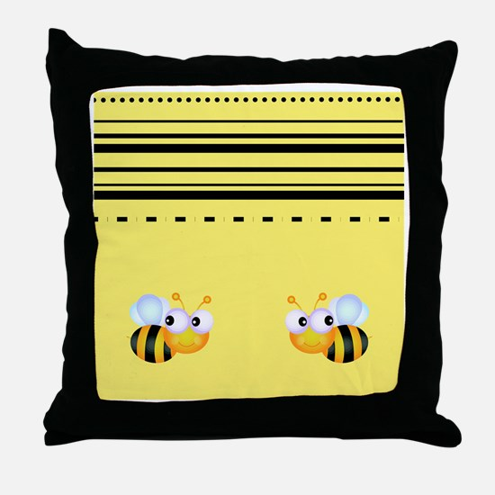 Cute Bumble Bee Graphics Throw Pillow