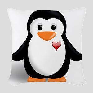 penguin with heart Woven Throw Pillow