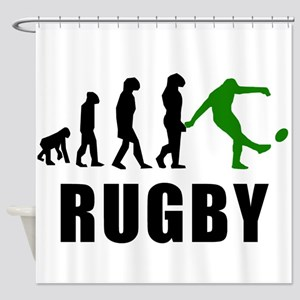 Rugby Kick Evolution (Green) Shower Curtain