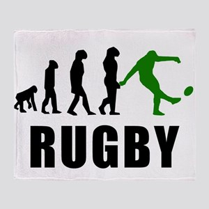 Rugby Kick Evolution (Green) Throw Blanket