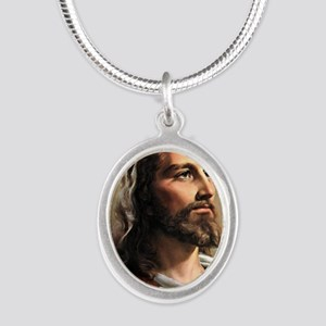 Jesus Silver Oval Necklace