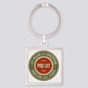 Life Begins At Conception Square Keychain