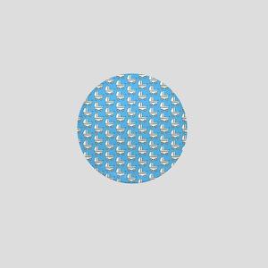 Baby Stroller Pattern. Blue. Mini Button