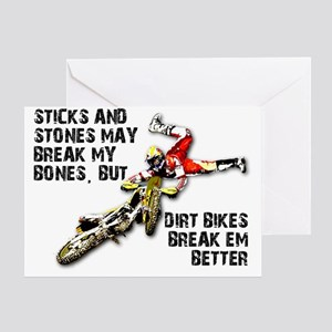 Sticks And Stones Dirt Bike Motocros Greeting Card
