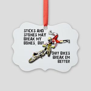 Sticks And Stones Dirt Bike Motoc Picture Ornament