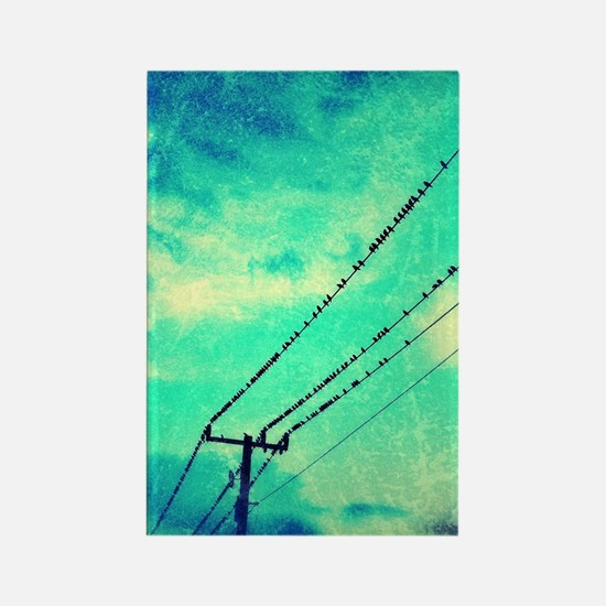 Birds on a wire Rectangle Magnet