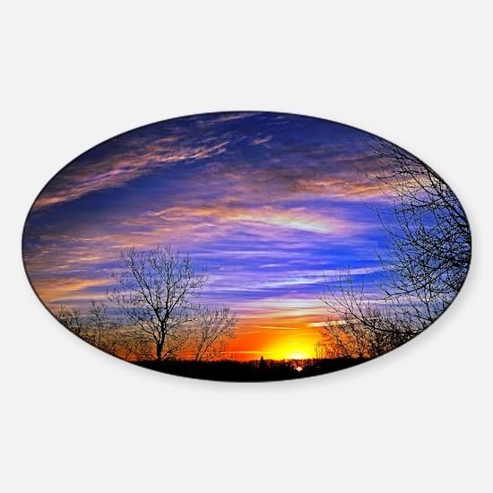 sunrise clouds Sticker (Oval)