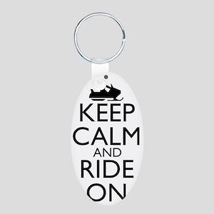 keep calm and ride on... sn Aluminum Oval Keychain