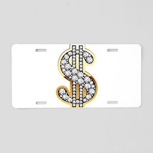 Gold Dollar Rich Aluminum License Plate