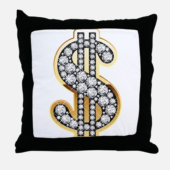 Gold Dollar Rich Throw Pillow