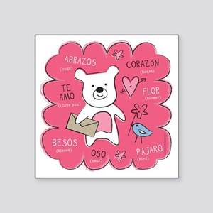 "Hugs + Kisses Square Sticker 3"" x 3"""