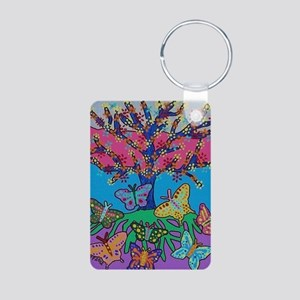 Butterfly Gathering Tree O Aluminum Photo Keychain