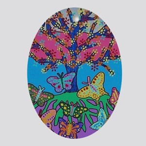 Butterfly Gathering Tree Of Life - 2 Oval Ornament