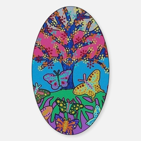 Butterfly Gathering Tree Of Life -  Sticker (Oval)