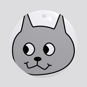 Gray Cartoon Cat. Round Ornament
