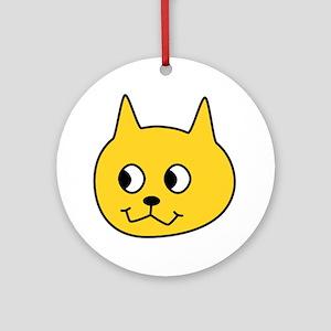 Yellow Cartoon Cat. Round Ornament