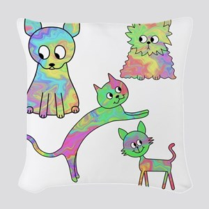 Four Colorful Cats. Woven Throw Pillow