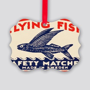 Antique Flying Fish Swedish Match Picture Ornament