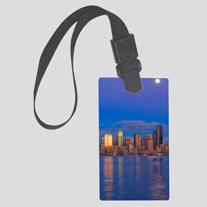 cityscapemoonmetal Large Luggage Tag