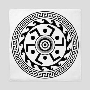Greek Art - Decorative Circle Queen Duvet