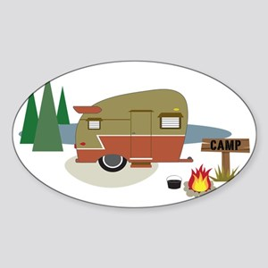 Camping Trailer Sticker (Oval)