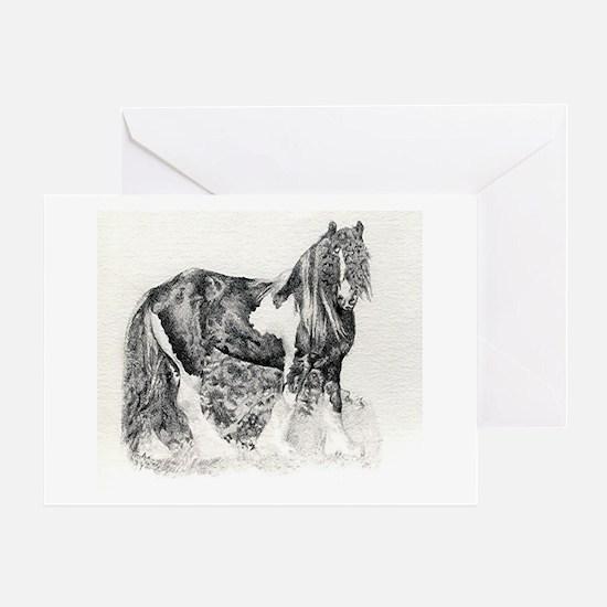 Gypsy Cob Horse Portrait Greeting Cards