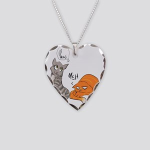 Two Cats Necklace Heart Charm