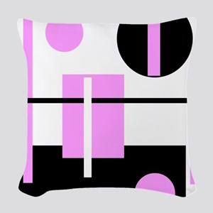 Fashionable pink black and whi Woven Throw Pillow