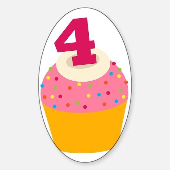 4th Birthday Cupcake Sticker (Oval)