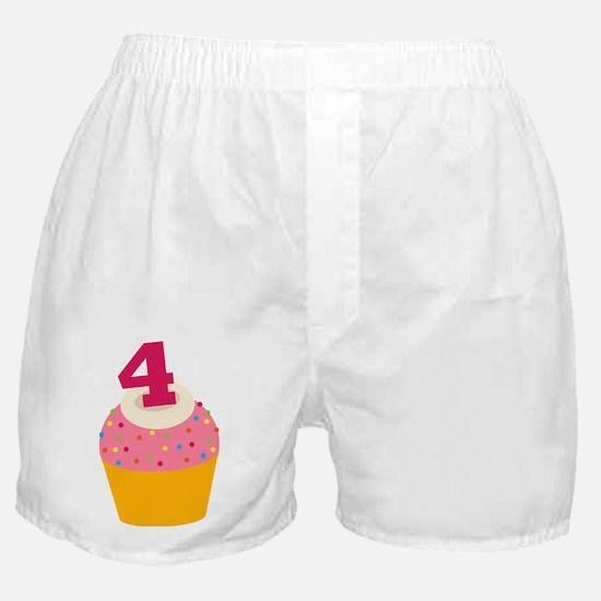 4th Birthday Cupcake Boxer Shorts