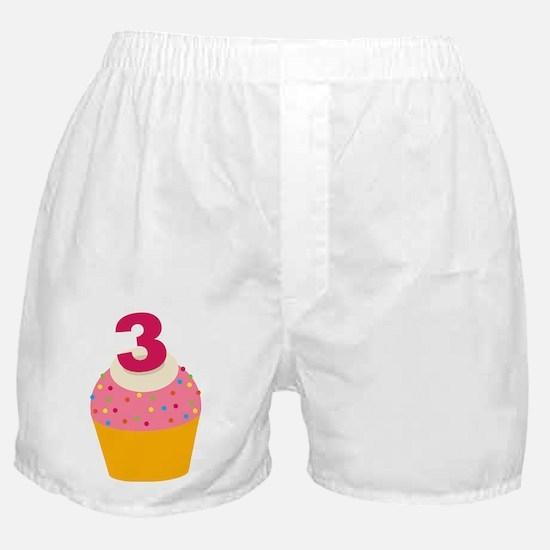 3rd Birthday Cupcake Boxer Shorts