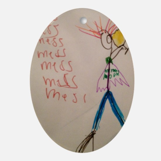 Hot Mess Mom Oval Ornament