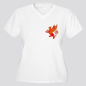Gryphon Red Gold Women's Plus Size V-Neck T-Shirt