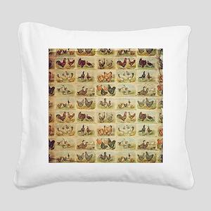 Vintage Barnyard Birds Square Canvas Pillow
