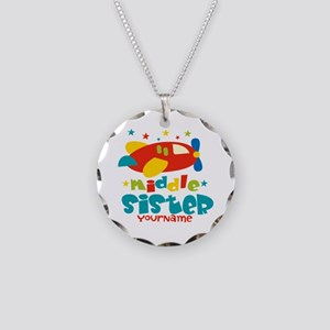 Middle Sister Plane - Personalized Necklace Circle