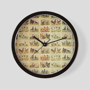 Vintage Barnyard Birds Wall Clock