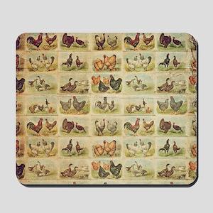 Vintage Barnyard Birds Mousepad