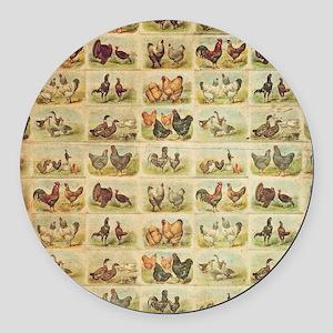 Vintage Barnyard Birds Round Car Magnet