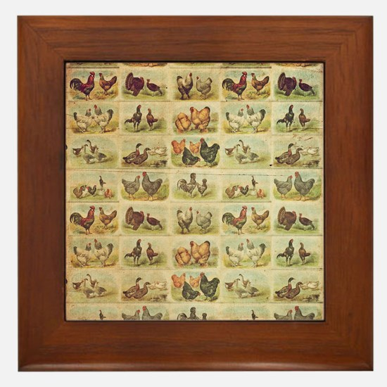 Vintage Barnyard Birds Framed Tile