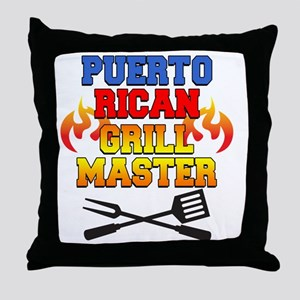 Puerto Rican Grill Master Apron Throw Pillow