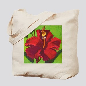 Vintage Red Hibiscus Tote Bag