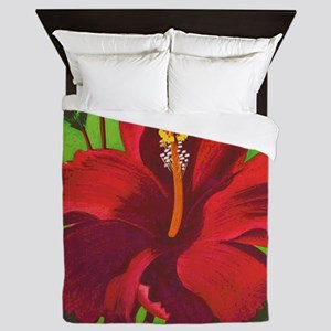 Vintage Red Hibiscus Queen Duvet