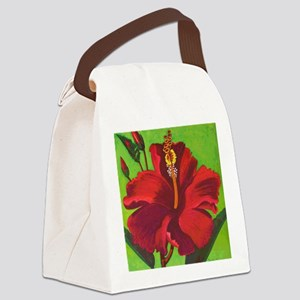 Vintage Red Hibiscus Canvas Lunch Bag