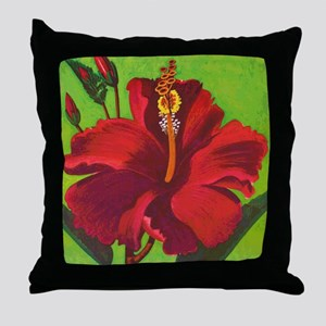 Vintage Red Hibiscus Throw Pillow